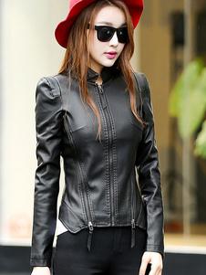 Veste aviateur femmefermetures à glissière des femmes cuir veste Slim Fit veste courte de Moto blouson femme