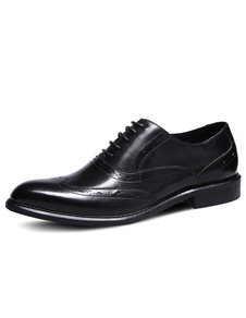 Image of Nero di Brogue scarpe uomo mandorla Toe vacchetta vestito scarpe stringate