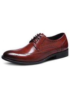 Image of Uomo vestito scarpe pelle bovina punta a mandorla Brogue scarpe stringate