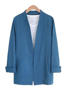 Image of Maniche lunghe tasche di media lunghezza giacca Casual Giacca tuta giacca donna blu