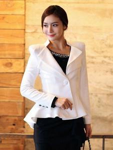 Image of Giacca donna blazer bianco 1-pulsante volant alto basso Abito Casual