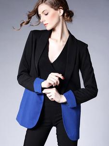 black-blazer-suit-women-contrast-color-pockets-slim-fit-leisure-suit-jacket