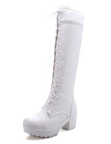 Blanco botas altas rodilla plataforma PU encaje grueso tacón botas longitud Femenil de invierno