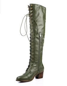 Image of Stivali lunghi donna ginocchio lunghezza Hunter Green zip punta tonda in pelle stivali con lacci