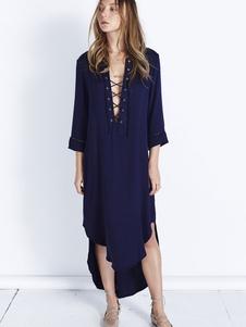 Alto-bajo borde Irregular cambio camisa vestido hundiendo escote vestido de gasa azul profundo