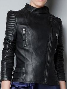 Blouson aviateur femme noir boucles de fermetures à glissière PU cuir Punk Style Casual Moto veste femme