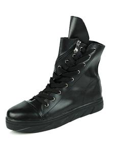 Image of Stivali alla caviglia nera punta tonda Lace-up Zipper PU brevi stivali