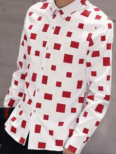 CAMICIA Casual a scacchi camicia manica lunga cotone Button rosso maschile