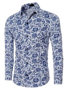 Algodón de camiseta de hombres azules Floral impreso manga larga camisa Casual