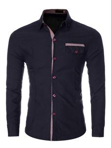 Cotone camicia manica lunga bottone camicia Casual Uomo con tasche