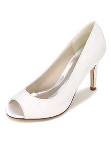 Image of Scarpe da sposa bianco pizzo Peep tacco alto scarpe da sposa ele