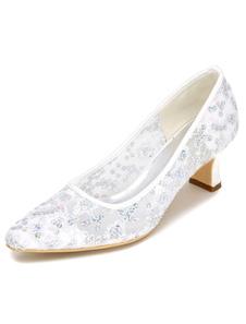 Image of Scarpe da sposa bianco tacco alto pizzo scarpe da sposa ricamate