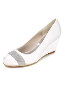 Image of Da sposa bianco scarpe zeppa tacco strass raso Slip su scarpe da
