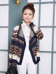women-s-khaki-mosaic-short-knitted-cardigans