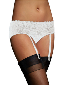 Image For White Garter Belt With Floral Lace For Women