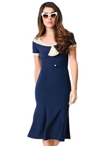 vintage-bodycon-dress-women-academic-dark-navy-short-sleeve-slim-dress