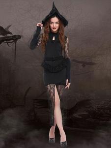 Image of Pizzo nero Split vestito strega sexy Costume Carnevale donna con il cappello della strega Carnevale