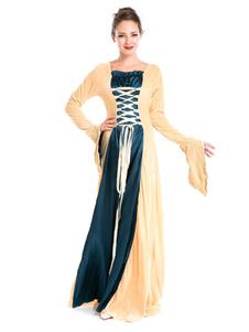 Image of Retrò Costume donna giallo stringate bicolore manica lunga Abito Maxi Carnevale