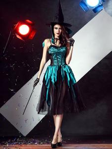 Image of Colore blu blocco puro vestito strega sexy Costume Carnevale donna con il cappello della strega Carnevale