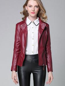 Image of Giacca donna Moto giacca manica lunga cerniera Borgogna PU cuoio