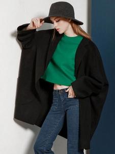 Schwarze Strickjacke Mantel Damen Langarm übergroßen Cocoon Mantel
