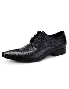 Cuero vestido negro zapatos hombre señaló zapatos de cordones de cuero de cocodrilo patrón
