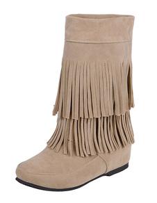 Bohemio botas tacón oculto franja de las mujeres alrededor del dedo del pie vaquera botas cortas