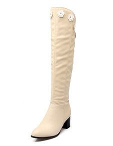 Blanco botas altas de tacón botas rodilla alto grueso tacón mujer cremallera flor