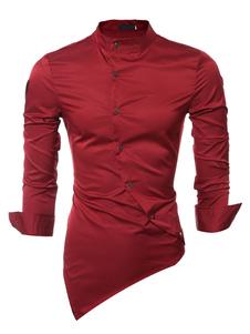Rosso diffusione asimmetrica Slim Fit cotone camicia camicia uomo manica lunga