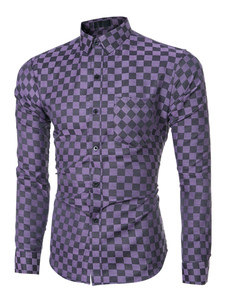 Image of Camicia manica lunga viola Plaid Slim Fit Camicia Casual da uomo
