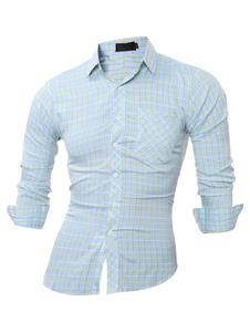 Image of Luce blu Slim Fit cotone Casual camicia camicia uomo manica lunga