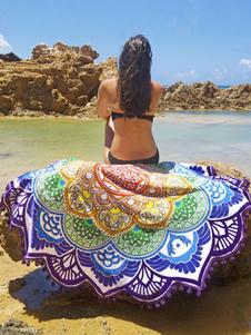 Image of Boho spiaggia coperta multicolore stampata copricostumi nuotata irregolare con pon pon