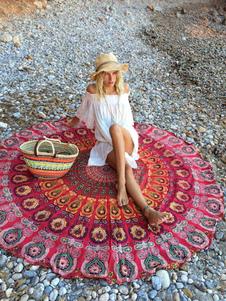 Image of Spiaggia rossa coperta rotonda cotone donne stampata copricostum