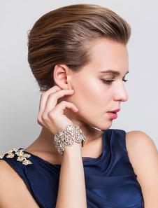 Boda oro Rhinestone aleación moda nupcial pulsera