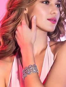 Bodas de plata del Rhinestone aleación moda nupcial pulsera