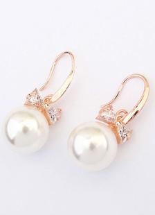 Image of Matrimonio bianco Orecchini Vintage penzolare orecchini fiocco lega orecchini da sposa