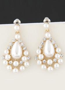 Image of Sposa vintage orecchini perle bianco lega nuziale goccia orecchini