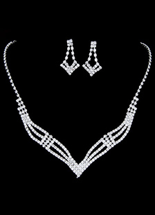 bridal-jewellery-sets-silver-rhinestone-geometric-pierced-wedding-necklace-earrings
