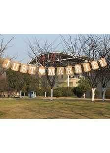 wedding-banner-decorations-just-married-brown-card-papers