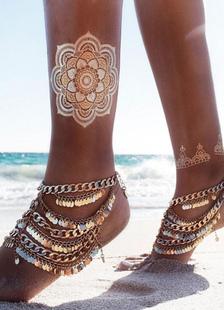 beach-wedding-footwear-pearl-gold-bohemian-women-multi-layer-anklet
