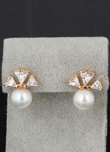 Arcos de novia Cubic Zirconia Pendientes Stud perla blanco boda pendientes