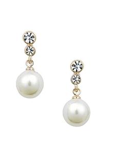 Image of Orecchini perle nozze orecchini strass bianco trafitto gioielli di nozze per le donne
