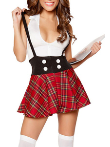 haloween-school-girl-sexy-costume-women-white-top-with-red-plaid-suspender-skirt