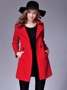 Image of Cappotto Trench rosso Turndown collo manica lunga vento Fit Slim prova inverno cappotto per le donne