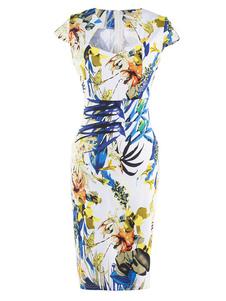 Vintage robe Queen Anne Neckline Cap manches Split couleur femmes imprimé robe crayon