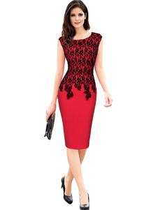 Image of Pizzo rosso vestito aderente manica corta Slim Fit Shaping Abito tubino