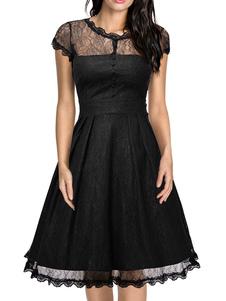 Image of Pizzo abito Vintage nero cappuccio manica tagliato Increspature semi-velata una linea abito svasato
