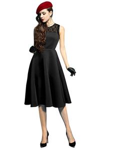 Image of Abiti vintage nero pizzo senza maniche a pieghe per donna