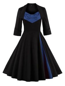 Image of Abiti vintage ci colore contrasto a pieghe 3/4 maniche per donna