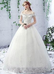 Image of Abito da sposa avorio fuori lo spalla strass pizzo una linea pavimento lunghezza pizzo abito da sposa
